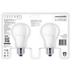 Pack 2 ampolletas led bulb E27 10,5-85W luz fría