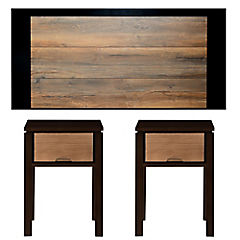 Combo Respaldo cama madera French + 2 Veladores marco madera negro