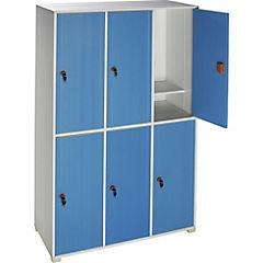 Lockers Plástico PVC 3 cuerpos 6 puertas 2 llaves