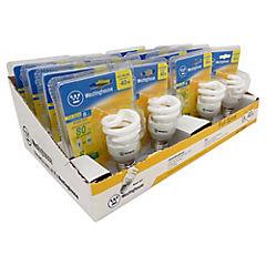 Pack 16 ampolletas twist 8W luz cálida