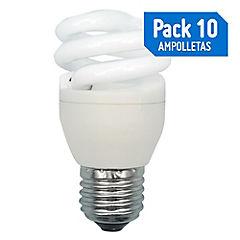 Pack 10 ampolletas X2 ahorro de energía twist 8W luz cálida