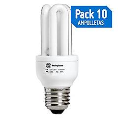 Pack 10 ampolletas X2 ahorro de energía micro 3U 11W luz cálida