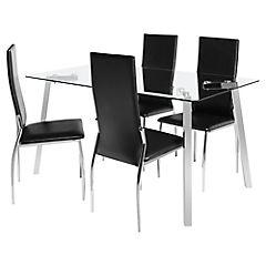 Juego de comedor Liu 4 sillas metal-pvc Negro