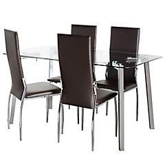 Juego de comedor Liu 4 sillas metal-pvc