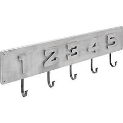 Percha de muro 23x72 cm 5 ganchos metal Gris