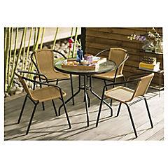 Juego terraza 5 piezas ratán PE negro/natural con mesa de vidrio