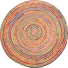 Alfombra redonda Surkanda 150 cm jute y algodón