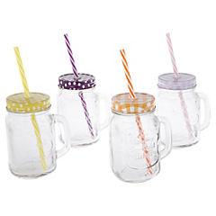 Set de jarras 4 unidades con mango con tapas y bombillas