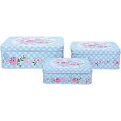 Set de 3 cajas de lata para el té  rectangular