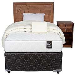 Diván cama base normal 1,5 plazas con respaldo, velador y textil