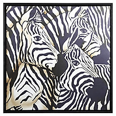 Cuadro 100x100 cm arpillera 3 Zebras