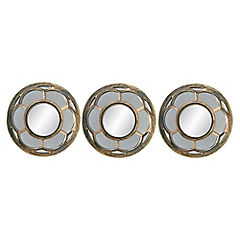 Set de espejos 25 cm 3 unidades cobre