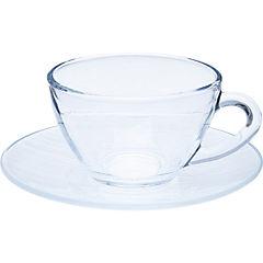 Taza para café con platillo transparente