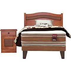 Box americano base normal 1,5 plazas con textil y muebles