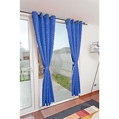 Set de cortinas 2 paños argolla azul