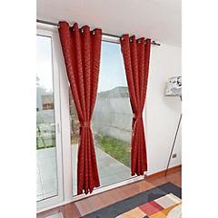 Set de cortinas 2 paños argolla terracota