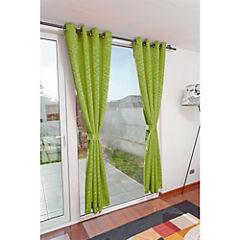 Set de cortinas 2 paños argolla verde pistacho