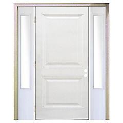Puerta fibra de 90X200 cm 2 paneles con mampara 50