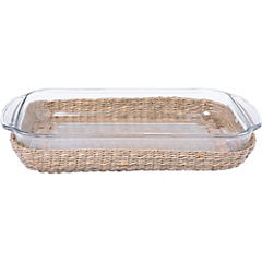 Bandeja base mimbre rectangular