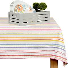 Mantel multicolor/blanco rayas 180X270 cm
