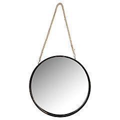 Espejo redondo 50 cm negro con cuerda