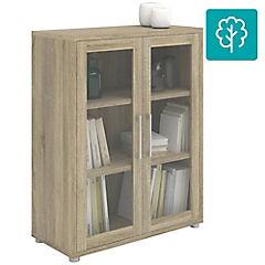 Librero prima ak  2 puertas de vidrio 2 repisas 89x40x113 cm