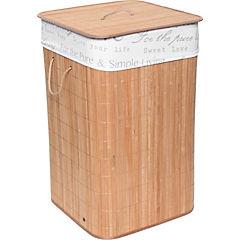 Hamper cuadrado bamboo claro