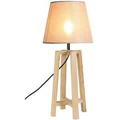 Lámpara de velador madera blanca Farli