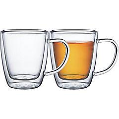Juego  tazas té y capuccino2 piezas vidrio doble Service