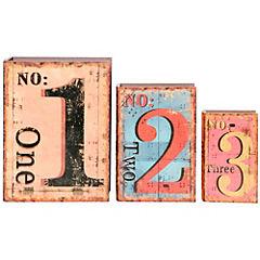 Set de cajas decorativas 3 unidades madera