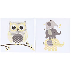 Set de 2 canvas 27x27 cm Búho y elefante