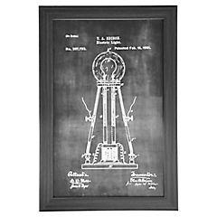 Cuadro enmarcado  40x60 cm Croquis histórico lámpara eléctrica 2