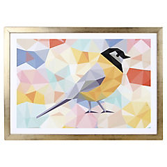 Lámina enmarcada 50x35 cm Yellow bird blanco