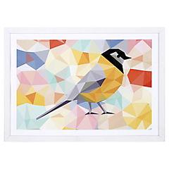 Lamina con marco 50x35 cm Yellow bird Blanco