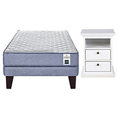 Combo Cama Europea Base Normal 1,5 Plazas + Velador 2 Cajones