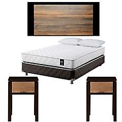 Combo Box Spring 2 plazas + 2 almohadas + Respaldo cama 2 plazas + 2 Veladores