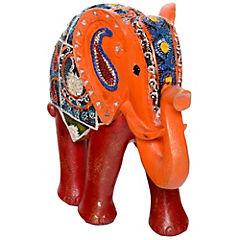 Elefante decorativo 25,4x28,3x12 cm poliresina rojo