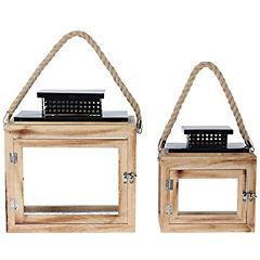 Set de portavelas madera 2 unidades