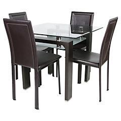 Juego de comedor 4 sillas nogal