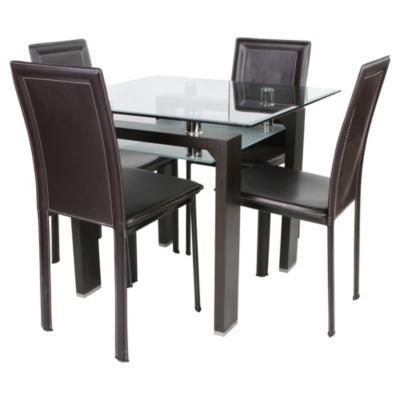 Juego de comedor 4 sillas nogal for Sillas ergonomicas sodimac