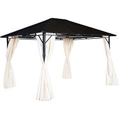 Pergola con techo y cortina 3x3,65 m