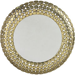 Espejo redondo aplicaciones cobre 84 cm