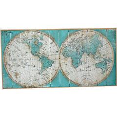 Cuadro madera enmarcado 123x63 cm Mapamundi