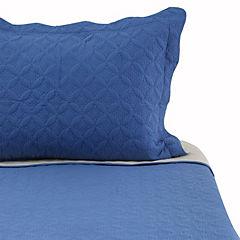 Quilt microfibra azul beige 1,5 plazas