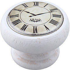 Perilla 40 mm madera blanca reloj blanco