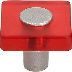 Perilla cuadrado metacrilato rojo cromado mate
