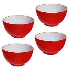 Set de bowls 4 unidades Rojo