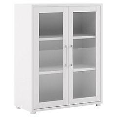 Librero blanco 2 puertas vidrio 2 repisas 89x40x113 cm