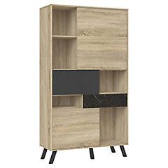 Librero 3 puertas 1 cajón ak y gris 100x40x180 cm