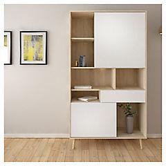Librero 2 puertas 1 cajón ak y blanco alto brillo 100x40x176